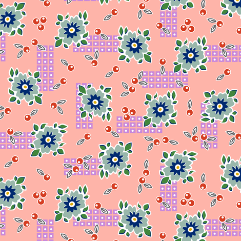 Welsummer* (Peach Halves) || vintage style feedsack feed sack flower floral leaves berries check geometric organic lattice garden fabric by pennycandy on Spoonflower - custom fabric