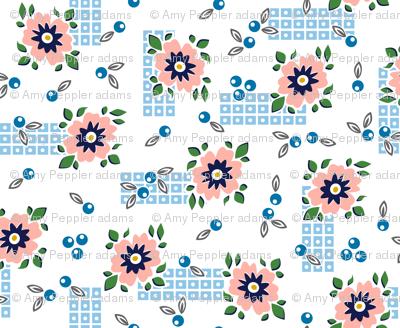 Welsummer* (White) || vintage style feedsack feed sack flower floral leaves berries check geometric organic lattice garden