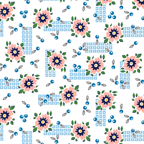 Welsummer* (White) || vintage style feedsack feed sack flower floral leaves berries check geometric organic lattice garden fabric by pennycandy on Spoonflower - custom fabric