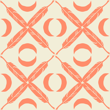 Feather Lattice - salmon fabric by rochelle_new on Spoonflower - custom fabric