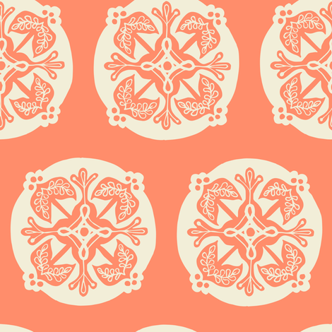 Medallion - salmon fabric by rochelle_new on Spoonflower - custom fabric