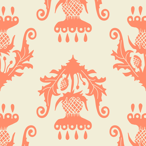 Thistle - salmon fabric by rochelle_new on Spoonflower - custom fabric
