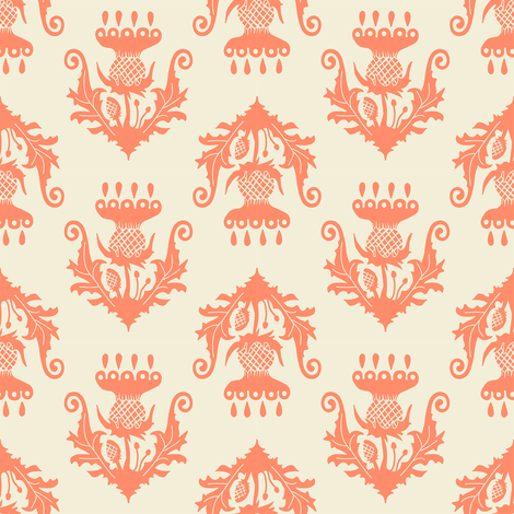 Little Thistle - salmon fabric by rochelle_new on Spoonflower - custom fabric