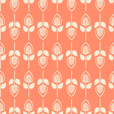 Tulip - salmon fabric by rochelle_new on Spoonflower - custom fabric