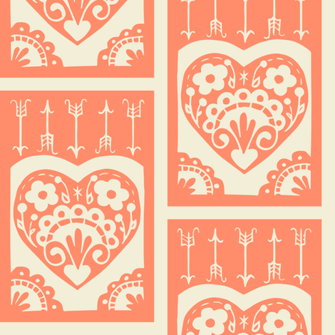 Valentine - salmon fabric by rochelle_new on Spoonflower - custom fabric