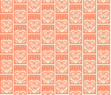 Little Valentine - salmon fabric by rochelle_new on Spoonflower - custom fabric
