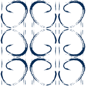 Navy Paint Stroke Geometric Mod Print