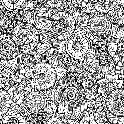 Black And White Indian Henna Design Fabric Khaus Spoonflower