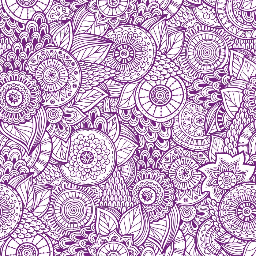 Indian Henna Design Purple Wallpaper Khaus Spoonflower