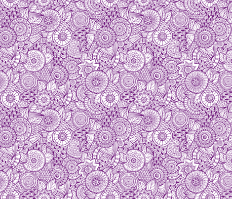 Indian Henna Design Purple Wallpaper Khaus Spoonflower