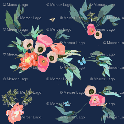 Pink Coral Blush Poppies Peonies on Navy  with Butterflies and Bees