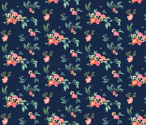 Pink Coral Blush Poppies Peonies on Navy  with Butterflies and Bees fabric by jenlats on Spoonflower - custom fabric