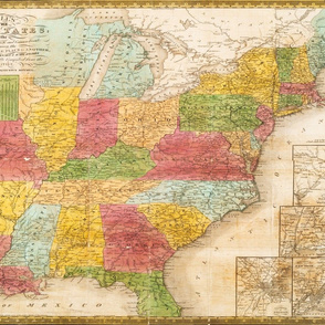 "1839 USA Map (28""W)"