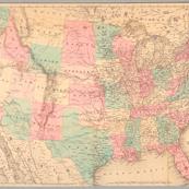"1871 USA Railroad Map (28""x18"")"