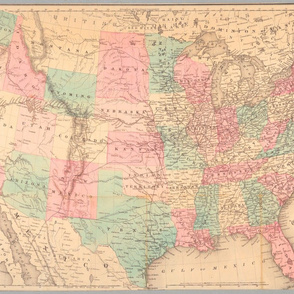 "1871 USA Railroad Map (28""W"")"