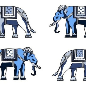 Elephants blue indian asian