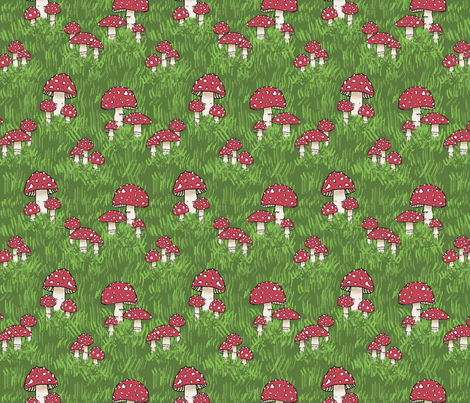 Mushroom - fly agaric fabric by indigo_iris on Spoonflower - custom fabric