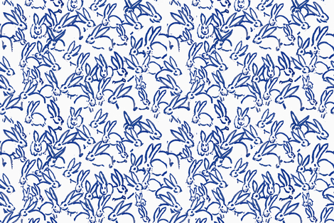 Blue bunnies bunny rabbits  fabric by jenlats on Spoonflower - custom fabric