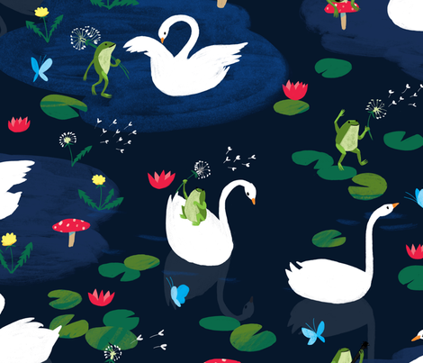 Swans & Frogs fabric by kaelagraham on Spoonflower - custom fabric