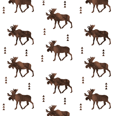 Moose // Watercolor brown fabric by littlearrowdesign on Spoonflower - custom fabric