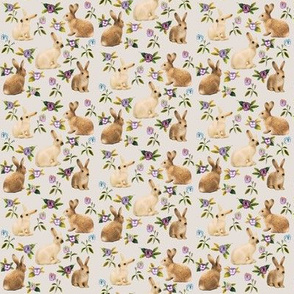 Bunnies in the garden, vintage cotton
