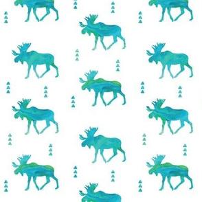Moose // watercolor blue & green