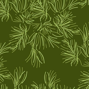 Sage Green Pine Needle // Pinecone Tree Evergreen Forest Traditional_Miss Chiff Designs