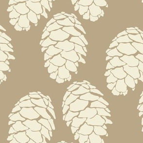 Winter Pinecone Evergreen Pine Tree Cream on Taupe_Miss Chiff Designs