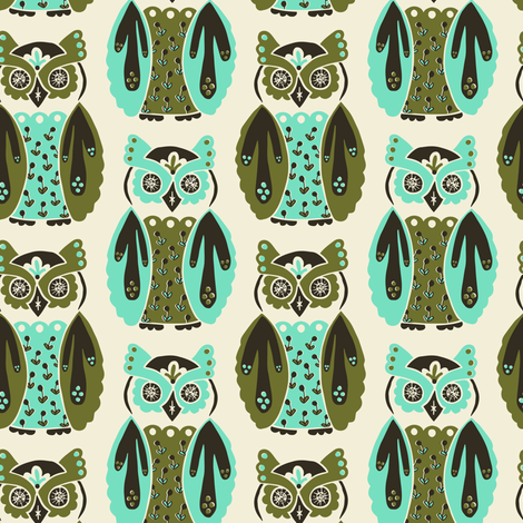 Harbingers and Heralds - olive/mint fabric by rochelle_new on Spoonflower - custom fabric