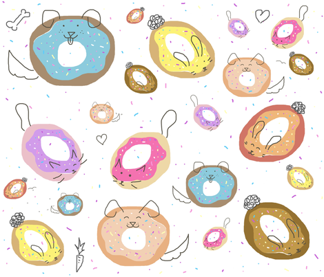 Doodled Donut Pets fabric by mmarie-designs on Spoonflower - custom fabric