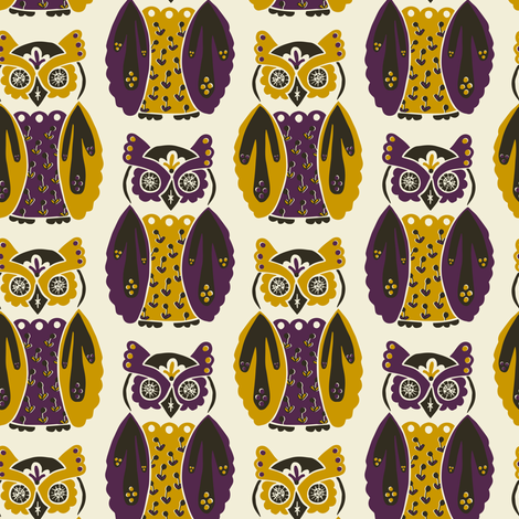 Harbingers and Heralds - eggplant/mustard fabric by rochelle_new on Spoonflower - custom fabric