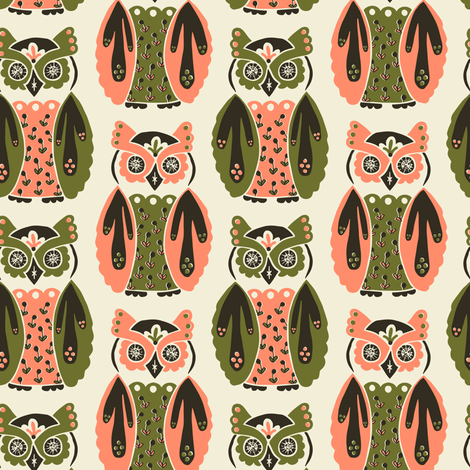 Harbingers and Heralds - salmon/olive fabric by rochelle_new on Spoonflower - custom fabric
