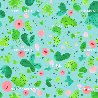 Cute Cacti on Turquoise