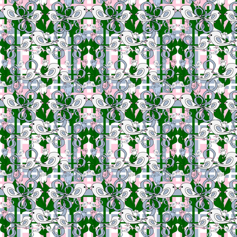 Susan Renee Gray Is Beautiful Victorian Birds, Roses and Flowers  Plaid Fabric #3 fabric by lworiginals on Spoonflower - custom fabric