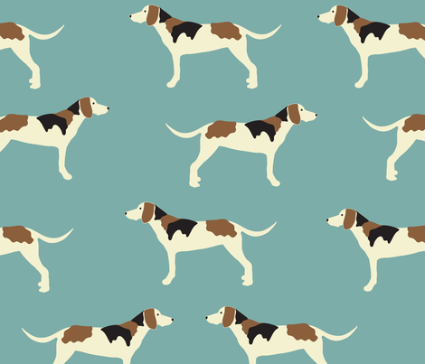 Tree Walker Coonhound in Blue fabric by vieiragirl on Spoonflower - custom fabric