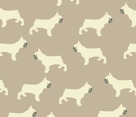 French Bulldog in Taupe fabric by vieiragirl on Spoonflower - custom fabric