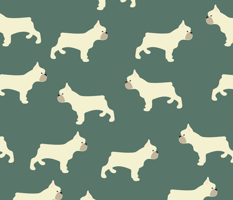French Bulldog in Hunter Green fabric by vieiragirl on Spoonflower - custom fabric