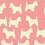 West Highland Terrier in Pink
