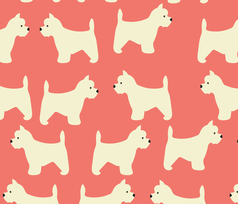 West Highland Terrier  in Salmon fabric by vieiragirl on Spoonflower - custom fabric