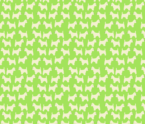 West Highland Terrier in lime green fabric by vieiragirl on Spoonflower - custom fabric