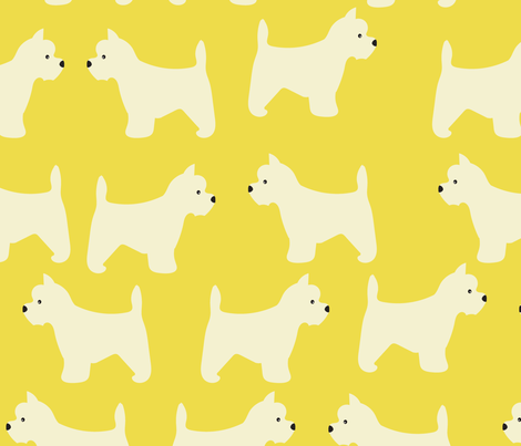 west highland terrier in yellow fabric by vieiragirl on Spoonflower - custom fabric