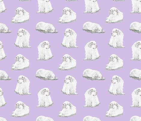 Relaxing Clumber spaniels - purple fabric by rusticcorgi on Spoonflower - custom fabric
