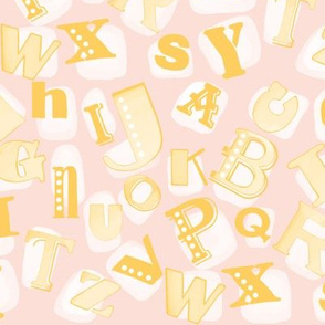 Alphabet in pink and yellow