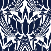 Navy Lotus Flower on White