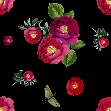 Night Garden Roses  fabric by shopcabin on Spoonflower - custom fabric