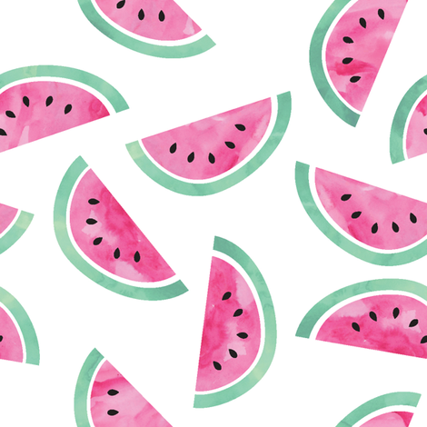 Watercolor Watermelon fabric by littlearrowdesign on Spoonflower - custom fabric