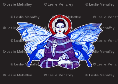 Purple and Lavender Buddha with Blue and white Butterfly wings on black background