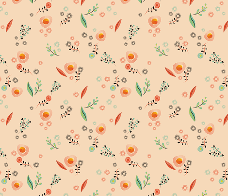 Small Brushstroke Flowers Coordinate  fabric by vinpauld on Spoonflower - custom fabric