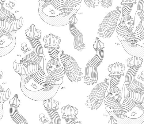 Mermaids with medusas fabric by ullamermaid on Spoonflower - custom fabric
