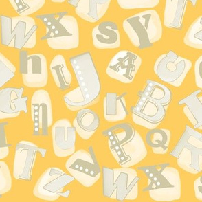 Alphabet in gray and yellow